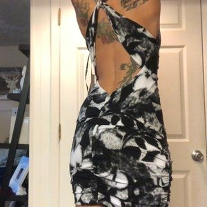Love Tease cocktail dress black and white floral